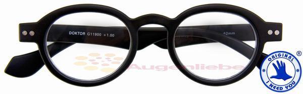 Doktor Panto-Kunststoffbrille schwarz