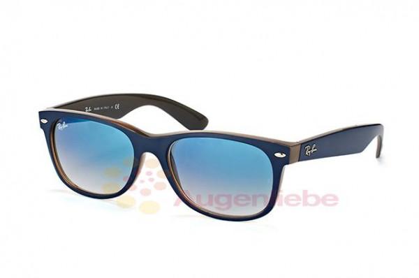 Ray-Ban RB 2132 New Wayfarer 6308/3F matte blue on opal brown